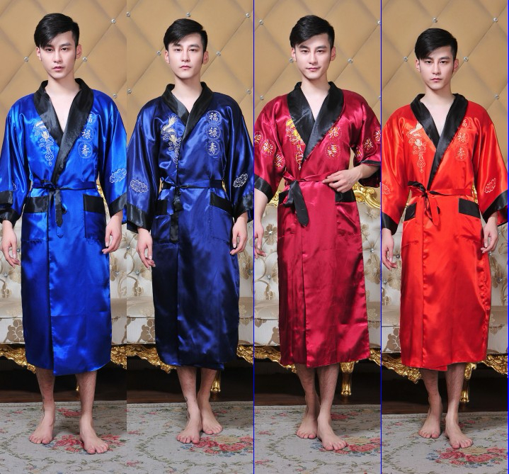 Public Bathhouse Spa Steam Chinese Robe Kimono Nightgown Dragon Sleepwear Traditional Chinese Kimono Dress Men Bathrobe Pajamas