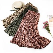 Women Stylish Leopard Print Pleated Skirt Snake Faldas Mujer Drawstring Casual Mid Calf Skirts(China)