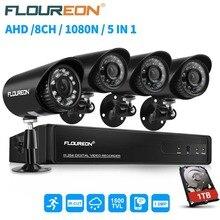Floureon 8CH 1080N 5 в 1 HDMI CCTV AHD TVI DVR 4 шт. 1500TVL на открытом воздухе с фильтром IR-Cut, цилиндрические камеры безопасности набор для наблюдения