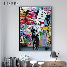 Banksy Street Graffiti Art Poster Einstein Love Is The Answer Canvas Prints Abstract Painting Cuadros Decoracion Salon