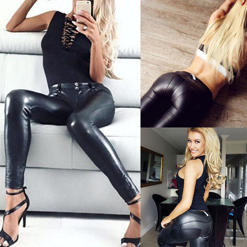 Women's Ladies PU Leather Trousers Stretchy Push Up Pencil Pants Skinny Leggings High Waist Black