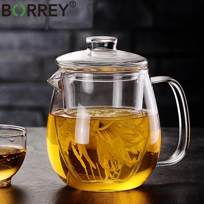 BORREY Glass Tea Pot And Cup Set Heat Resistant Glass Teapot With Filter Puer Tea Chinese Kung Fu Tea Set Flower Teapot Kettle