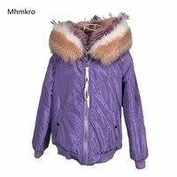 Модные уличные Женские Фиолетовый зимняя куртка женские теплые элегантные на меховой подкладке куртка бомбер с капюшоном большой Лисий ме