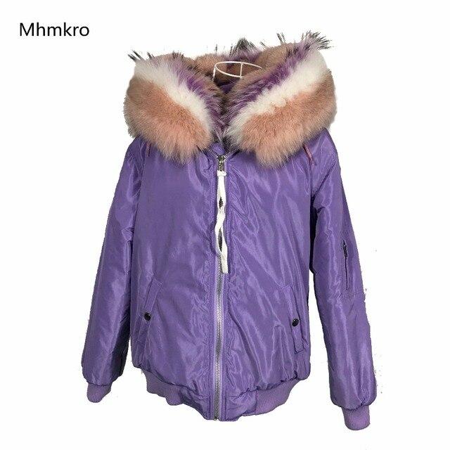 4e8d3877079 High fashion street women s purple winter jacket female warm elegant fur  lined bomber coat hooded large fox fur outerwear