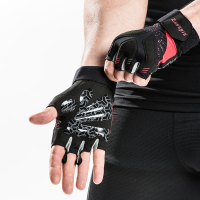 Kuangmi Gel Pads Gym Gloves Men Women Body Building Gloves Half Finger Anti slip Anti shock Weightlifting Gloves Gym Training