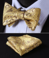 Pocket Square Classic Party Wedding BFC002YS Yellow Gold Brown Floral Bowtie Men Silk Self Bow Tie handkerchief set