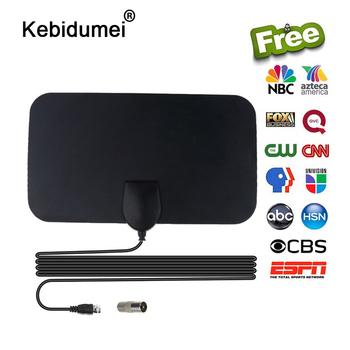 Kebidumei wysokiej jakości 4K 25dB o wysokiej mocy HD TV DTV Box cyfrowa antena telewizyjna 50 mil Booster aktywna wewnętrzna antena HD płaska konstrukcja tanie i dobre opinie Indoor VHF(172-240Mhz) UHF(470-860Mhz) Digital TV Antenna 1 5C-2V Black L=4M TV Male Linear 120mm*210mm*0 6mm 4 72inx8 37inx0 02in