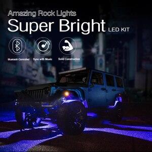 Image 4 - MICTUNING Kit de lampes néon multicolores pour voiture, 4 dosettes, RGB LED, décoration Rock, avec application Bluetooth, synchronisation, fonction musicale