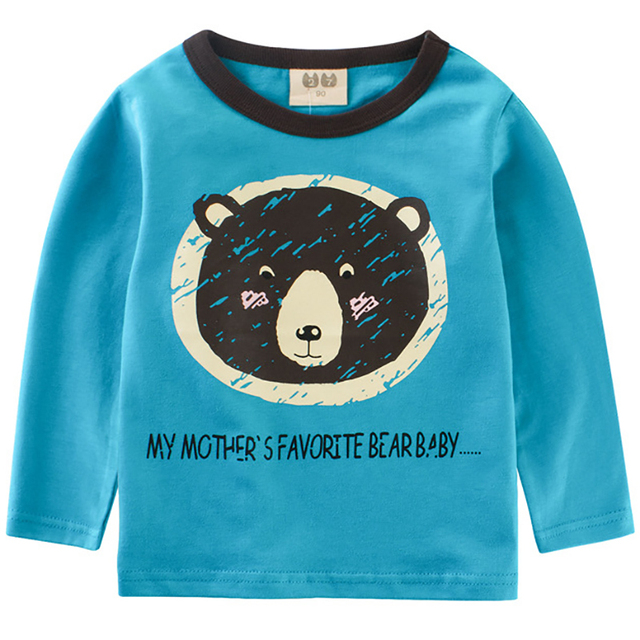 Baby Boys T shirt Children Clothing 2018 Bear Cartoon Pattern Clothes Boys Long Sleeve Tops Kids T-shirts for Boy Sweatshirt