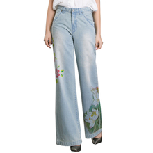 S-6XL plus size Flare jeans Spring and summer thin loose micro-horn wide leg printing cowboy big size retro art trousers wj719