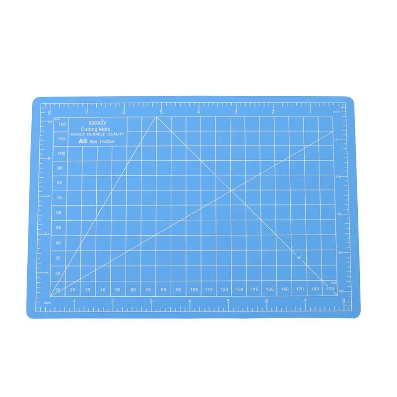Blue Rectangle A5 Paper Cutting Mat PVC Self-Healing A5 Office Home Papers DIY Tool Plastic Grid Lines Cut Pad School Supplies