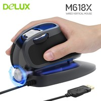 Delux M618X Wired Ergonomic Vertical Mouse USB LED Light Laser Gaming Computer 6D Mice 4000 DPI Mouse For Overwatch Laptop PC