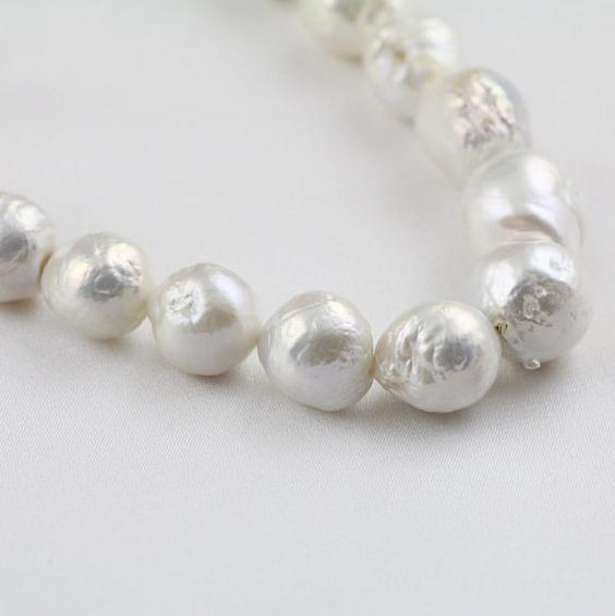 Bijoux en perles baroques blanches, AA 10-13 MM grand collier de perles, nouveau livraison gratuite