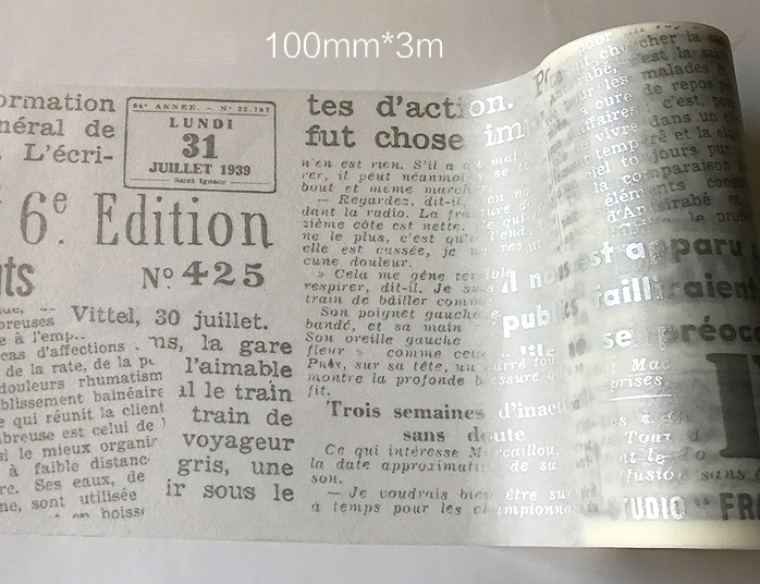 100mm*3m  high quality  washi paper  tape/Vintage wider silver newspaper and english letter masking  japan  washi tape kitmmm6200341296pac103620 value kit pacon riverside construction paper pac103620 and highland invisible permanent mending tape mmm6200341296