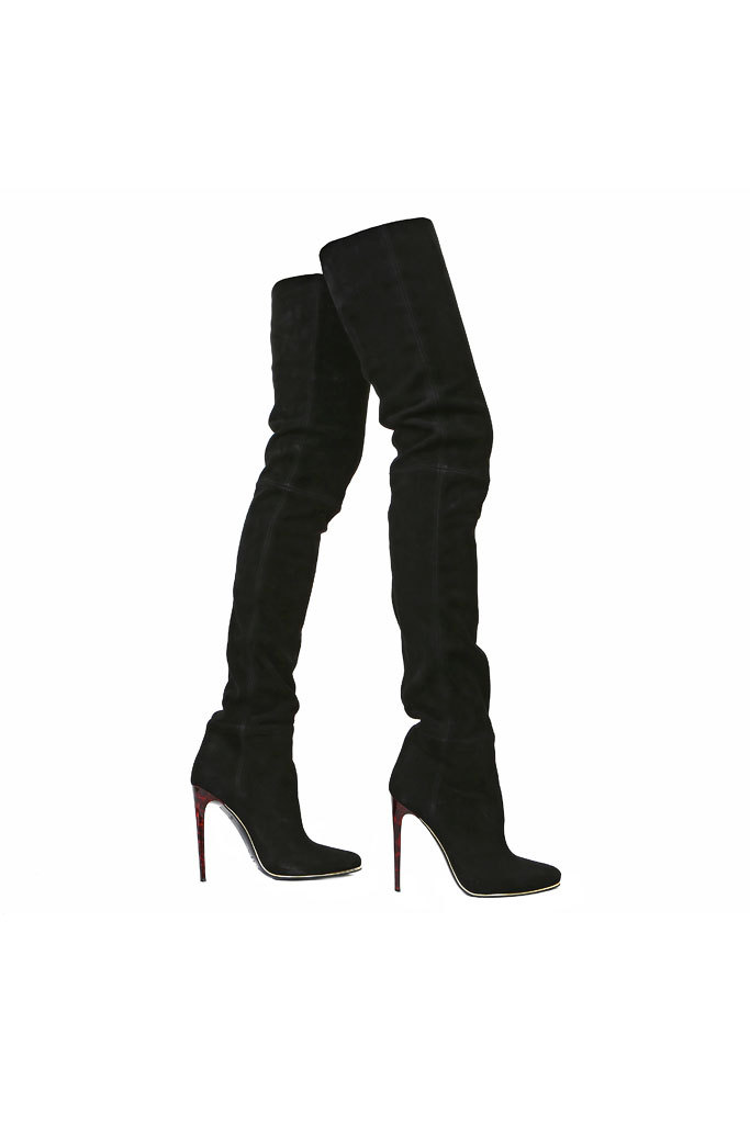 Fashion Winter Black Suede Boots Over the Knee Pointed Toe High Heel Ladies Thigh High Boots Women Shoes sapatos femininos 2014 new 2014 flock suede high heel women boots brand over knee high heel boots for women fashion designer women shoes