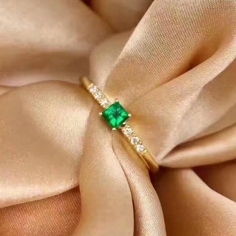 3mm natural esmeralda anel de prata sólido