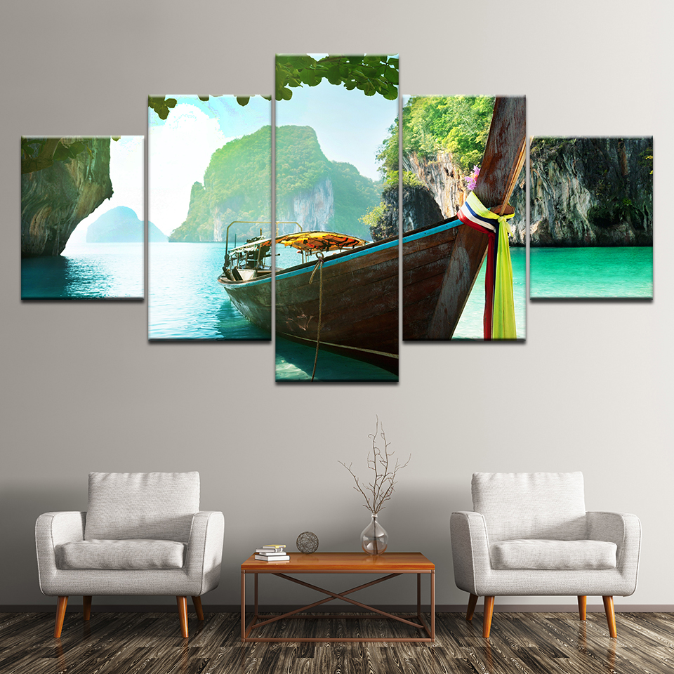 Canvas Painting Coat with Andamanensee Thailand 5 Pieces Wall Art Painting Modular Wallpapers Poster Print Home Decor