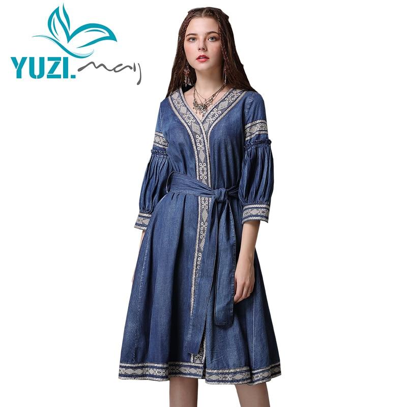 Summer Dress 2018 Yuzi may Boho New Denim Vestidos A line V Neck Three Quarter Sleeve