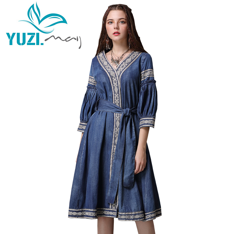 Kadın Giyim'ten Elbiseler'de Yaz elbisesi 2018 Yuzi. may Boho Yeni Denim Vestidos A line V Yaka Üç Çeyrek Kollu Kuşaklı Kadın Elbiseler A82071 Vestido Kadın'da  Grup 1