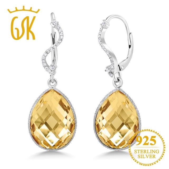 929db778457bcb GemStoneKing Pear Shape 14.00 Ct Natural Citrine Quartz Gemstone 925 Sterling  Silver Cocktail Dangle Earrings For Women