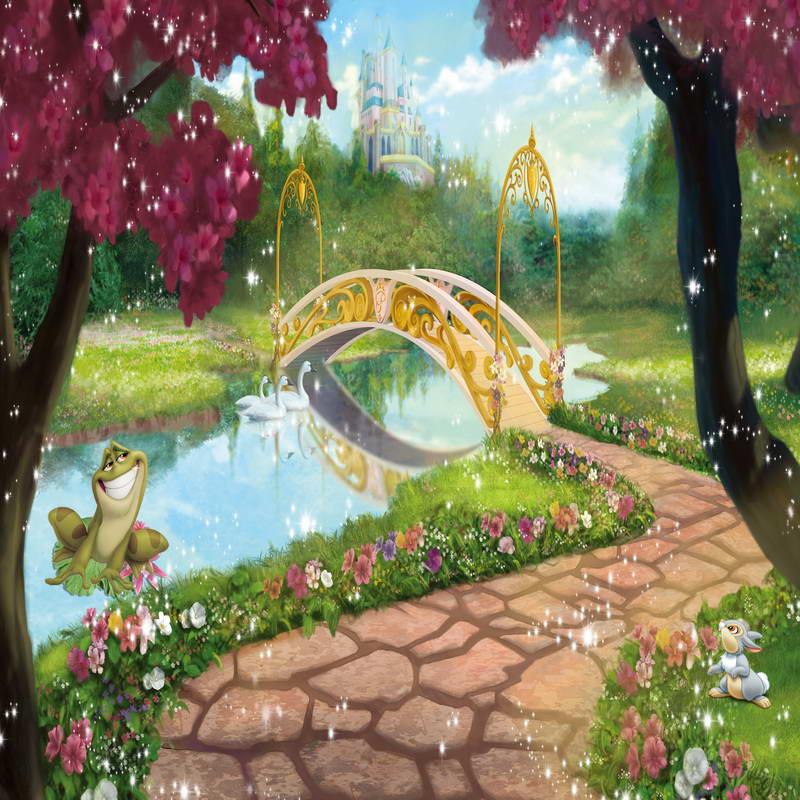 10x10ft princess castle gold bridge river frog green garden custom photo background studio. Black Bedroom Furniture Sets. Home Design Ideas
