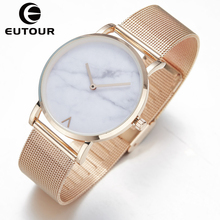 Eutour vestido de oro rosa Relojes de Pulsera Relojes de Ginebra relojes de las mujeres 2017 señoras Calientes de Mármol 38mm Reloj 3ATM Impermeable Reloj de cuarzo