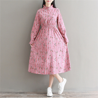 Mori Girl Sweet Fall Long Vestidos 2017 New Autumn And Winter Pink Clothes Women Long Sleeve
