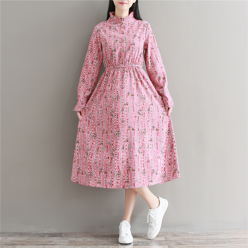 Mori Girl Sweet Fall Long Vestidos 2017 New Autumn and Winter Pink Clothes Women Long Sleeve Floral Print Corduroy Dresses