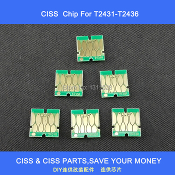 INK WAY T2431 -T2436  24XL auto reset chips  for DIY CISS and refillable  ink cartridge,T2431 T2432 T2433 T2434 T2435 T2436