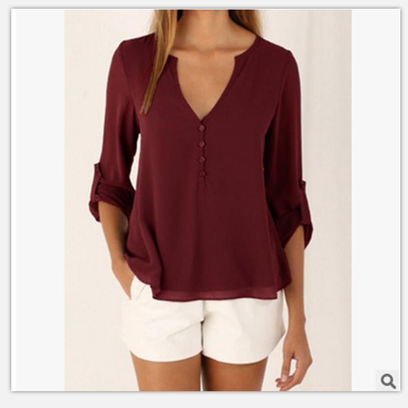 Women shirt Summer Plus Size Tee Basic Shirts Women Solid V Neck Seven points Sleeve Casual Big Size Female 4XL 5XL Tops Femme 3