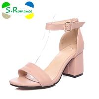 S Romance Women Sandals Plus Size 34 43 Fashion Summer Buckle Strap High Heel Pumps Woman