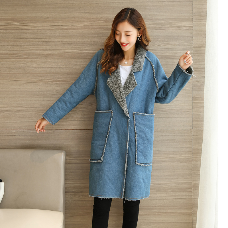 New Winter Blue Women Coat Demin Denim Fabric Jacket Turn Down Collar Thick Outwear Warm Parkas Long Female Jeans Velvet Cotton s 2xl 2 colors 2015 new winter women down coat long slim turn down collar zipper jacket female belt pocket outwear zs308