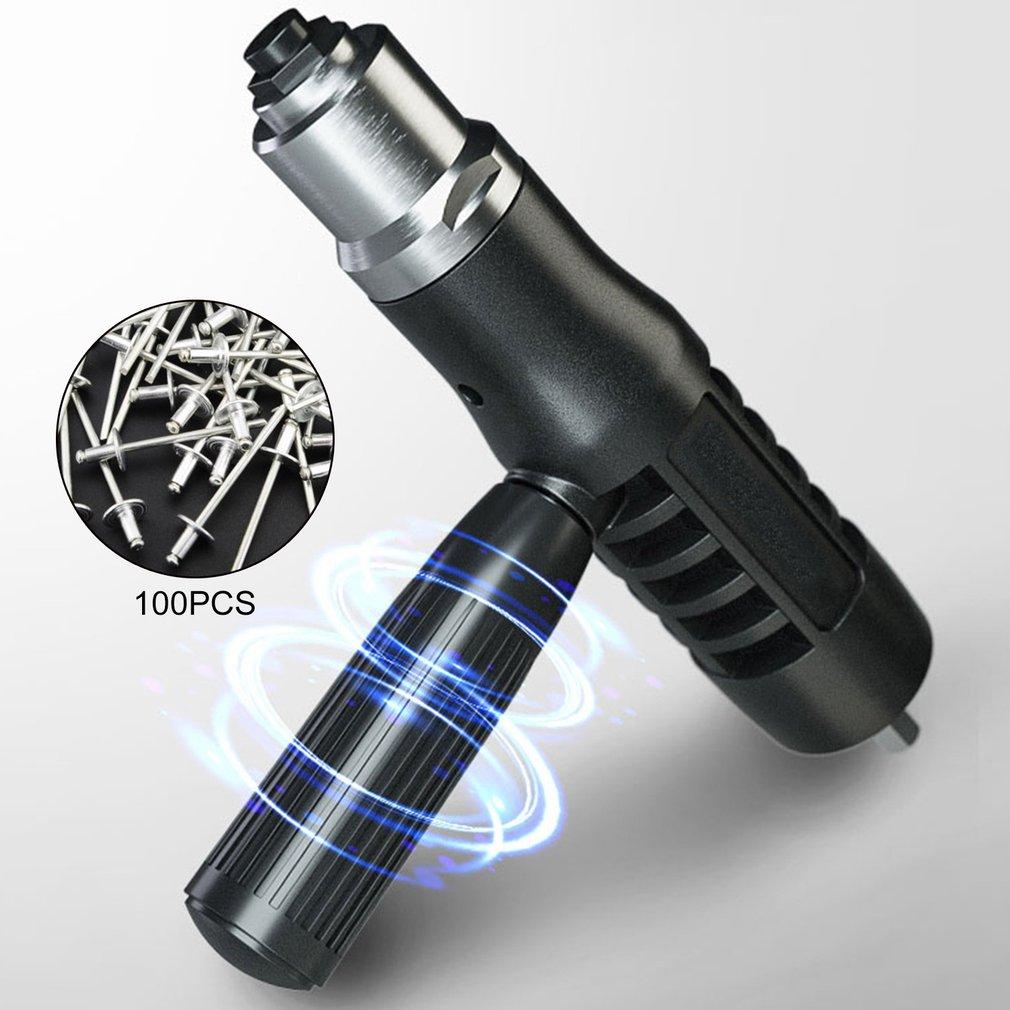 Electric Rivet Gun With Set Of Rivet Multifunction Riveting Drill Adapter Gun Auto Rivet Electric Nut Gun Tool Cordless Drill