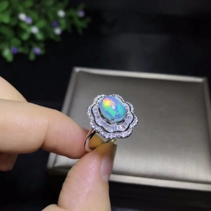 Image 2 - Natural opal woman rings change fire color mysterious  925 silver adjustable size
