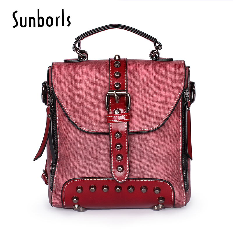 rivet Women backpack fashion female travel backpacks mochilas school leather woman small  bag For Teenage Girls 1v11104 squirrel fashion rivet punk nylon with leather english style girls backpacks doodle classic vogue popular cute women travel bag