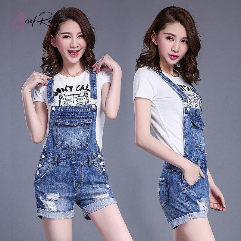 Women   jumpsuit   denim shorts fashion slim hole stitching straps bib 2019 new blue bodysuit fashion jeans pants summer rompers