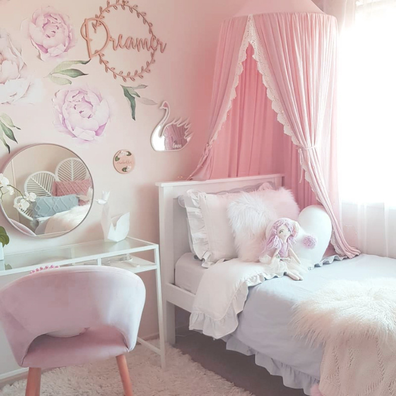 Round Pink/White/Gray Bed Canopy for Girl Baby Crib Bed Curtain with Lace  Kids Play Tent House Dome Hanging Children Room Dossel