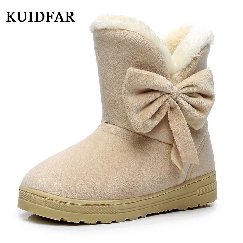 KUIDFAR Women Shoes Women Winter Shoes Female Warmer Bowtie Fur Suede Flat Ankle Snow Boots Fashion