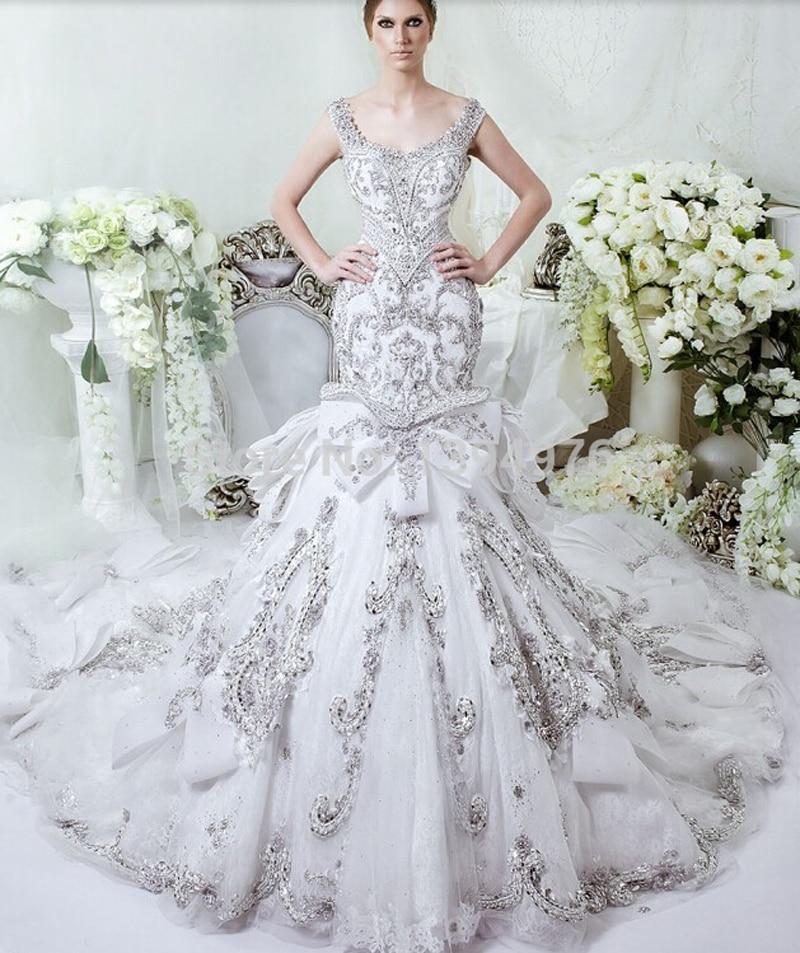 Gorgeous Luxury Crystal Diamond Mermaid Wedding Dresses ...