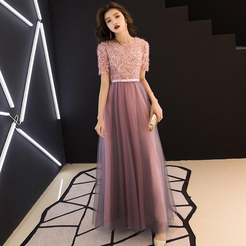 ASWOMOYE 2019 nouvelle superbe robe de soirée élégante robe de soirée à manches courtes brillante Occasion spéciale robes robe de soirée