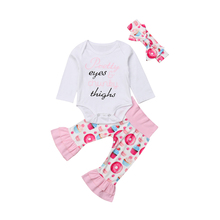 Newborn Infant Baby Girl Clothes Jumpsuit Long Sleeve Romper Donut Print Ruffle Pant Outfit Set 2019