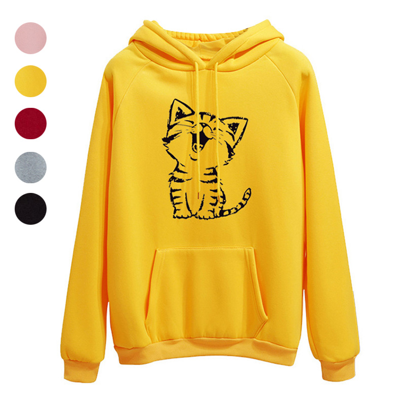 Women Autumn Long Sleeve Pullover Hoodie Cute Cat Printed Loose Fit Sweatshirt GDD99