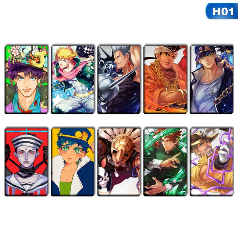 10pcs/set JOJO JoJo's Bizarre Adventure Golden Wind Giorno Giovanna Card Stickers DIY Frosted Decal Phone Waterproof Stickers