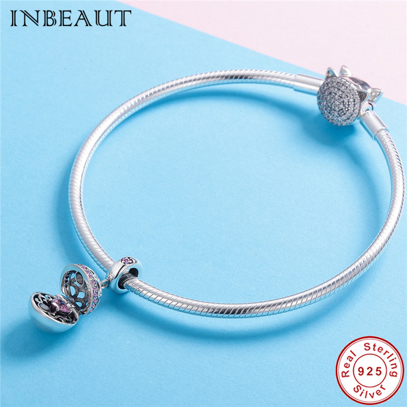 INBEAUT 925 Sterling Silver Suprising Love Pink Heart Zircon Vintage Round Openable Box Beads Charm Fit Pandora Bracelet Girls