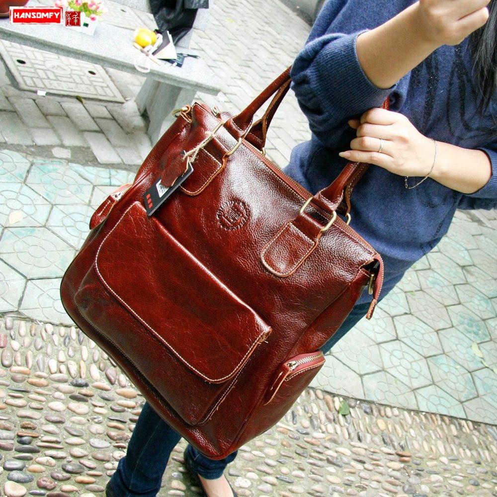 2019 Retro Genuine Leather women handbag crossbody bag 14 inch laptop briefcase female shoulder messenger bags travel briefcases-in Shoulder Bags from Luggage & Bags    1