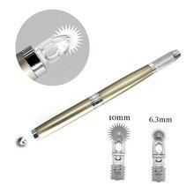 Resultado de imagem para Microblading 10 pcs semi descartável maquiagem permanente agulha rolo fácil cor microblading lâminas para nevoeiro sobrancelha com uma caneta