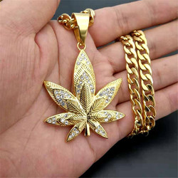 European Hemp Leaf Pendant Necklaces For Men Gold Color Stainless Steel Rhinestones Necklaces Hippie Jewelry Dropshipping