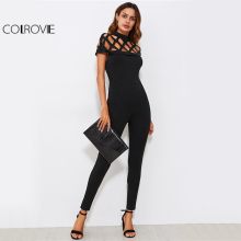 COLROVIE Elegant Square Cut Out Short Sleeve Jumpsuit/ Catsuit