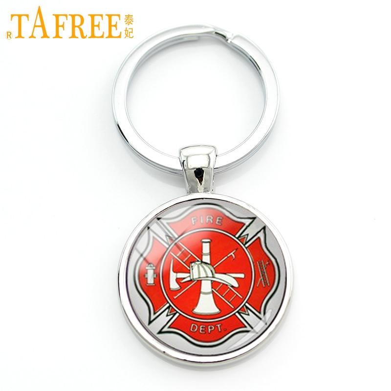 TAFREE Charm Firefighter Badge Key Chain Personalized Handmade Maltese Cross Keychain Firemen Symbol Of  Jewelry KC387