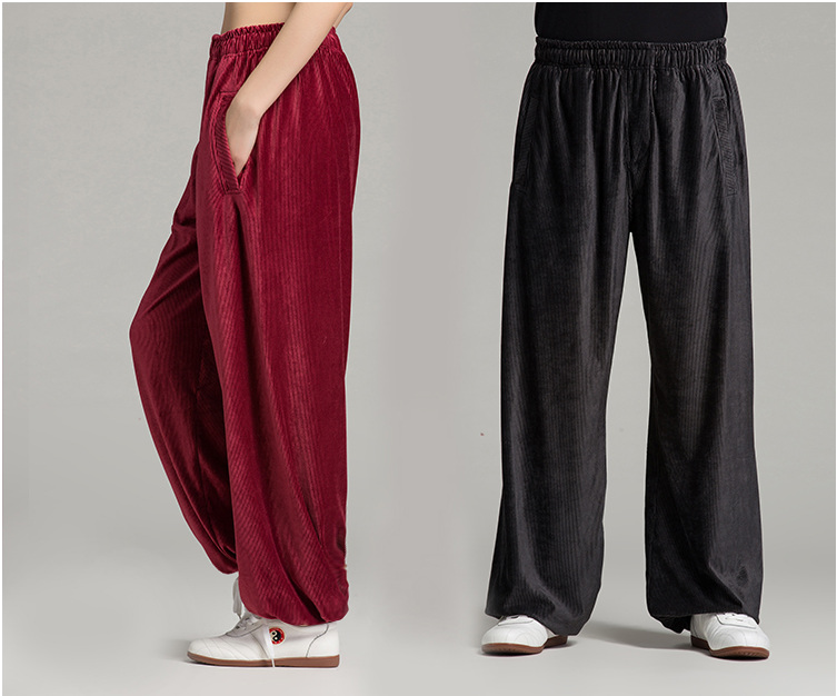 G-LIKE Thickening Corduroy Fine Stripe Tai Chi Trousers Frenal Waist Loose Pure Yoga Pants For Women Men 3 Color 8 Sizes